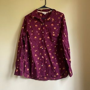 Maroon floral button down